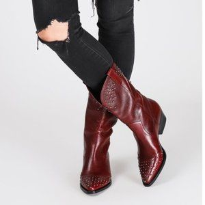 Botkier Tammy Western Leather Boots in Bordeaux